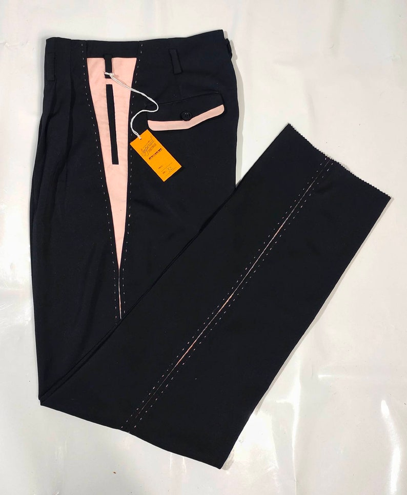 1950s Men's Pants, Trousers, Shorts | Rockabilly Jeans, Greaser Styles Killer Rockabilly Pistol Pants Black Pink VLV $135.00 AT vintagedancer.com