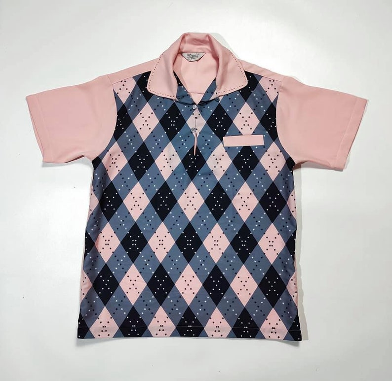 1950s Men's Clothing Killer Rockabilly Gabardine Argyle Pullover $135.00 AT vintagedancer.com