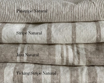 """Washed linen fabric by the yard or meter. Width 250cm / 98"""". Natural Striped linen and linen cotton mix fabric"""