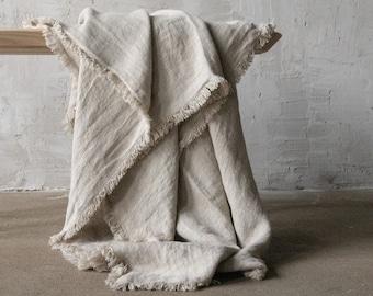 Summer Linen Blanket Softened Linen Throw Blanket Linen Blanket in gray color of natural flax Beach Linen Blanket Thick Linen Bed Cover