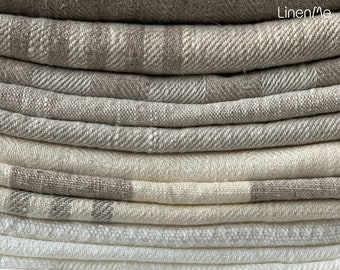Striped, Plain, Herringbone Linen fabric by the yard or meter in Neutrals, heavy weight. Linen fabric for decor pillows, upholstery, curtain