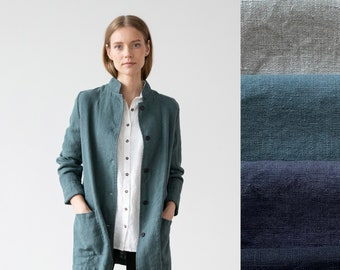 Heavy Linen Jacket Paolo in 4 Colors. Washed and super soft linen jacket with pockets and buttons. European flax certified linen