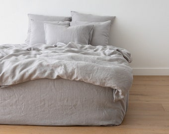 Washed Linen Duvet Cover Various Colours * Queen, King and other USA sizes * Pure European linen.