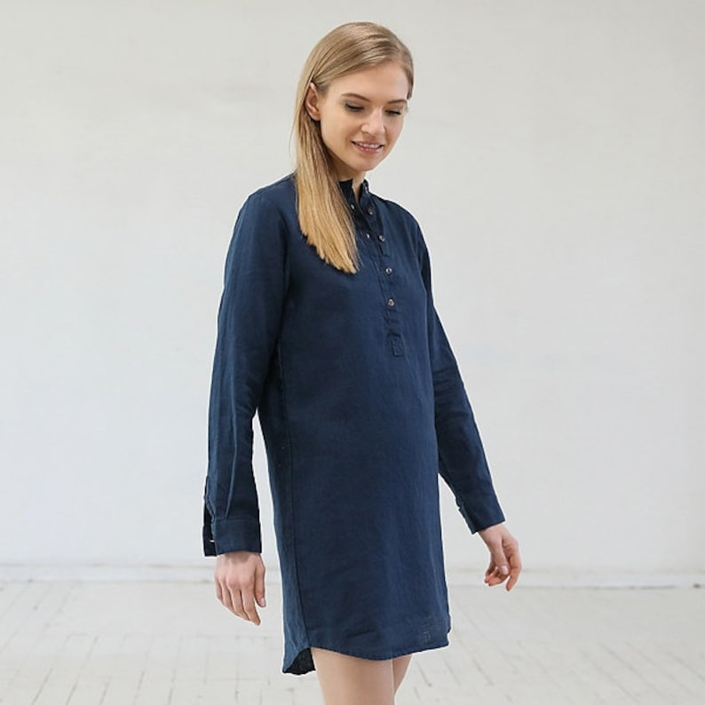 Linen Night Shirt Indigo *Straight silhouette *Front half-length buttoned opening *Available in 9 colors
