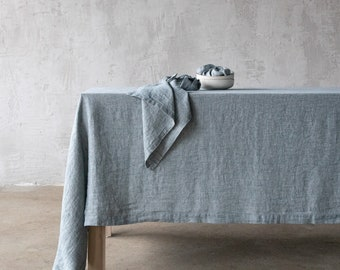 Stone Washed Linen tablecloth in Various colours. Any size no seams table linen. Round, square, rectangle linen tablecloth.