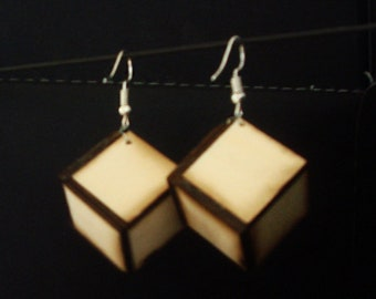 Wooden cube earrings