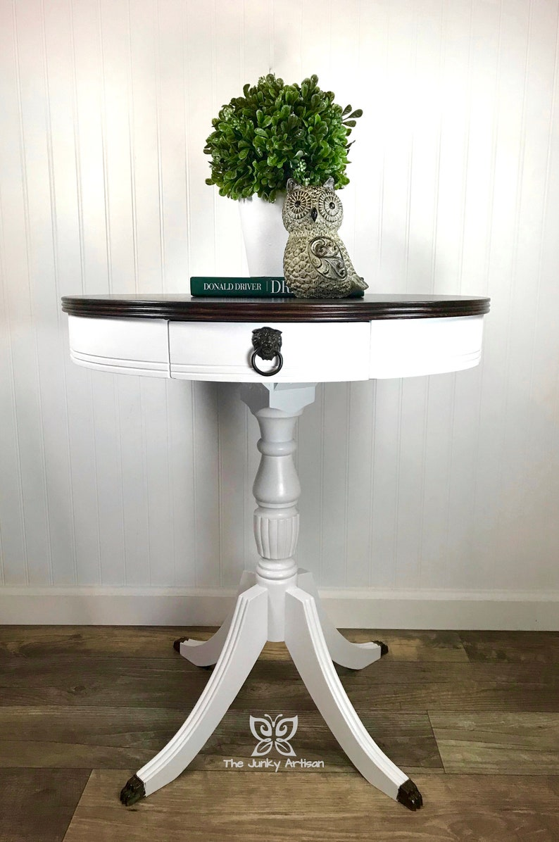 Sold. Modern White Drum Table for Your Entryway, Living Room, or Bedroom