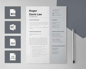 Resume Template For Word Cv Design Cv Template Resumes Etsy