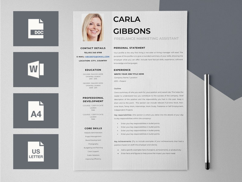 Cv Design Cv Szablon Dla Word życiorys Szablony Curriculum Etsy