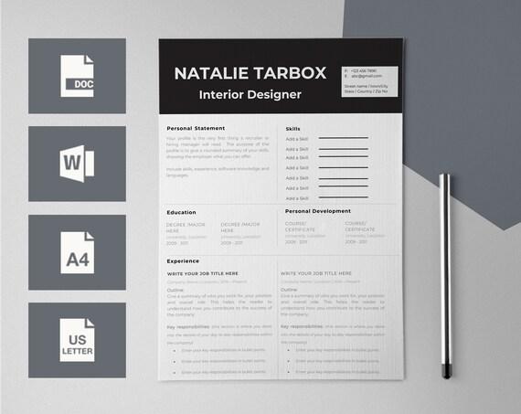 Professional CV Template CV Design Resume Templates for | Etsy