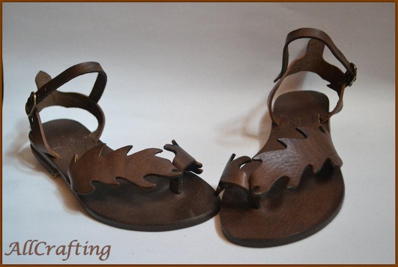 061acd6e0b84f Ancient Gladiator Sandals Leaf Design, Dark Brown Toe Ring Sandals, Women  Strap Sandals, Leather Flat Sandals, Elegant Summer Sandals-US30