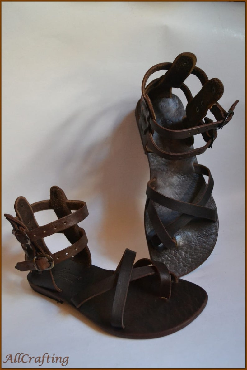 Toe Ring Sandals Ankle Strap Sandals Dark Brown Leather