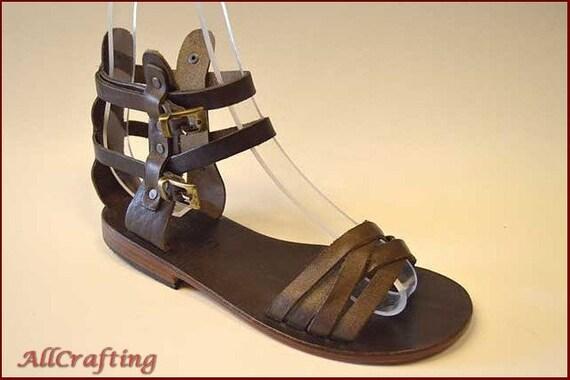 8346380c8fd6 Women Gladiator Sandals Brown Leather Sandals Women Flat
