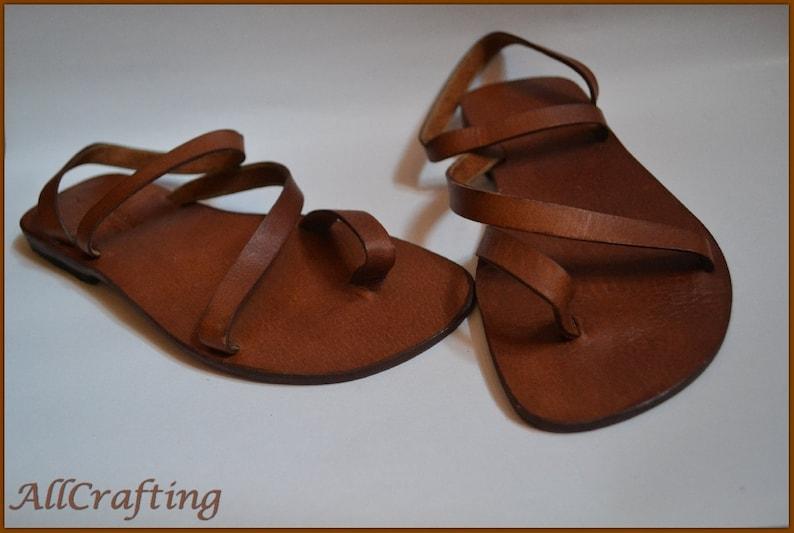 ab26c53c143c Women Gladiator Sandals Brown Leather Flat Sandals Women