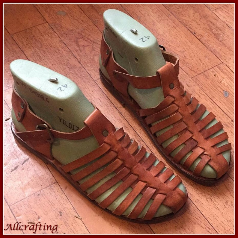 71a541b47 Natural Brown Leather Sandals Handmade Leather Strappy