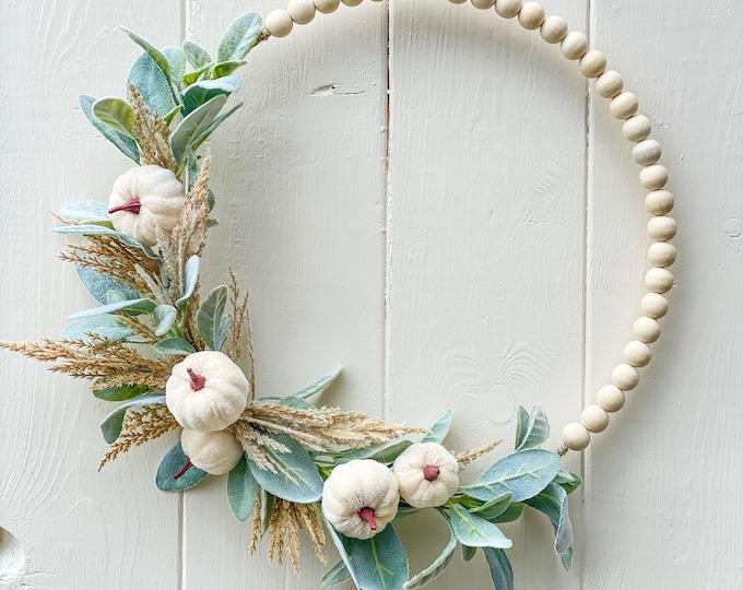 Fall Wreath, Pumpkin Wreath, White Pumpkins, Pampas Grass, Modern Wreath,