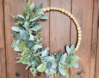 Neutral Wreath, Beaded Wreath, Hoop Wreath, Greenery Wreath, Year Round Wreath, Modern Wreath, Boho Wreath