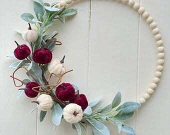 Fall Wreath, Pumpkin Wreath, Modern Wreath, Boho Wreath