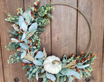 Fall Wreath, Hoop Wreath, Modern Wreath, Pumpkin Wreath, Pumpkin Decor, Fall 2021