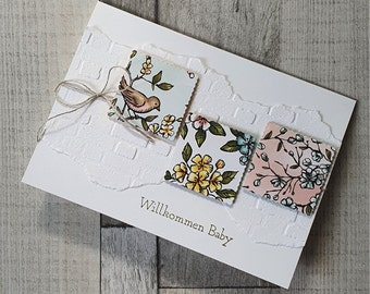 Baby card - Greeting card with bird