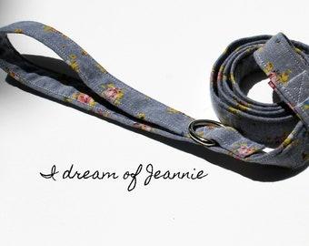 Dog Leash/ Girls Vintage Jean Dog Leash with Flowers/I dream of jeannie