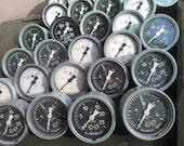 Set of Five USSR Vintage Pressure Gauge.