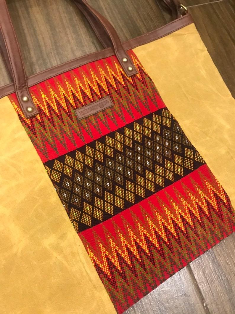 tribal textile bag large tote bag boho crossbody bag fabric handbags weekender bag Waxed canvas bag