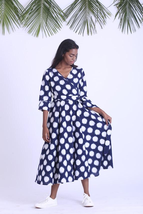 Navy blue ikat dress, Vintage maxi dress, Boho Indian dress, plus size  dress fair trade