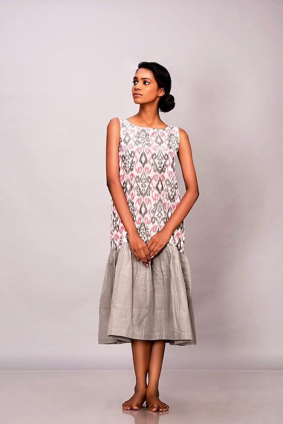 Boho maxi dress, vegan clothing, plus size midi dress, cotton tunic dress,  ikat shift dress