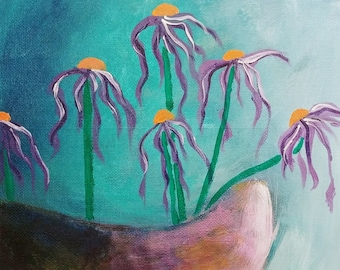 "8"" x 8"" ""Not Your Grandma's Flowers"" acrylic on canvas panel"