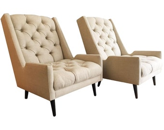 Jonathan Adler Tufted Parker Chairs - A Pair