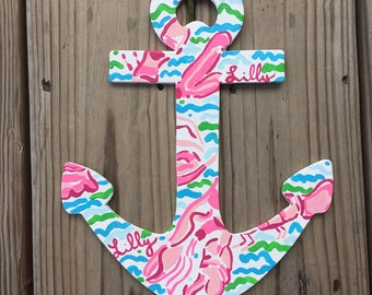 Custom Lilly Pulitzer Inspired Painted Anchor-Any Print!