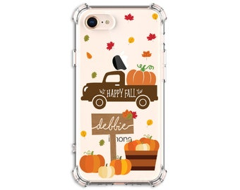 FALL Truck, Personalized Autumn Truck and Pumpkins Case, iPhone 8, 8 Plus, Xs MAX, XR, 11, Galaxy S10, S8 Plus, S9, s9 plus, Note 8, Note 9