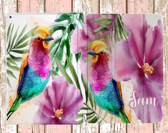 Watercolor Flower and Birds with Custom Name for iPad Air, iPad Air 2, iPad pro, iPad 10.5, iPad Mini 4
