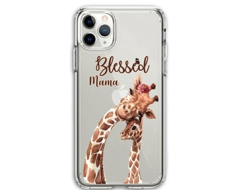 Blessed Giraffe Mama, Mom gift, Clear Protective Hybrid Case, iPhone XR, 11, 11 Pro Max, Galaxy A20 A30 LG Stylo 5, Stylo 6, K51,  Aristo 3