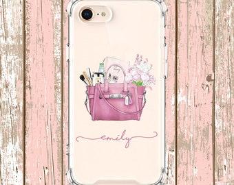 Pink Purse Phone Case, iPhone 6, 6 plus, 7, 7 plus, 8, 8 Plus, X, Xs, Xs MAX, XR, Samsung Galaxy S8, S8 Plus, S9, s9 plus, Note 8, Note 9