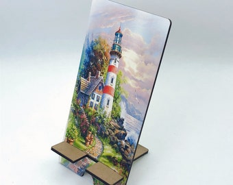 Lighthouse by the sea Design Phone Holder, Tablet Holder, Custom Phone stand, Gift for teacher, Birthday Gift, Charging stand