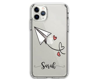 Personalized Heavy Duty Valentine's Paper Plane Clear Protective Hybrid Case, iPhone XR, 11, 11 Pro Max, Galaxy A20 A30 LG Stylo 5, Aristo 3