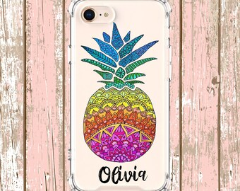 Pineapple Hand colored Mandala iPhone 6, 6 plus, 7, 7 plus, 8, 8 Plus, X, Xs, Xs MAX, XR, Galaxy S8, S8 Plus, S9, s9 plus, Note 8, Note 9