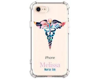 Blue Flower Nurse Gift iPhone 6, 6 plus, 7, 7 plus, 8, 8Plus, X, Xs, Xs MAX, XR, Samsung Galaxy S8, S8 Plus, S9, s9 plus, Note 8, Note 9