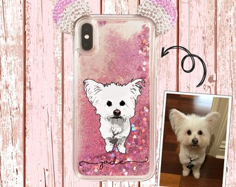Rhinestone Ears on Liquid Glitter case with Personalized cartoon image of your own pet for iPhone X, iPhone Xs