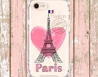 Paris Hearts Name case, iPhone 6, 6 plus, 7, 7 plus, 8, 8 Plus, X, Xs, Xs MAX, XR, Samsung Galaxy S8, S8 Plus, S9, s9 plus, Note 8, Note 9