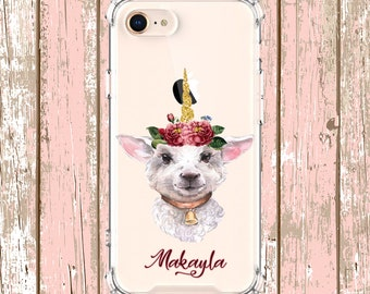 Unicorn Goat flower Case, iPhone 6, 6 plus, 7, 7 plus, 8, 8 Plus, X,  Xs MAX, XR, Galaxy S10, S10 Plus, S9, s9 plus, Note 8, Note 9