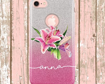Pink Lily Flower Glitter Ombre Case iPhone 7, iphone 8, iPhone X, iPhone Xs, iPhone 7 Plus, iPhone 8 Plus, Personalized Script font name