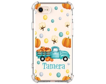 Pumpkin Truck, Personalized Autumn Truck and Pumpkins Case, iPhone 8, 8 Plus, Xs MAX, 11, Galaxy S10, S8 Plus, S9, s9 plus, Note 8, Note 9