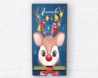 Rodolph The Red Nose Reindeer Christmas Personalized Design Phone Stand, Tablet Holder, Custom Phone stand, Gift for teacher, Charging stand