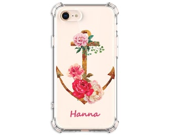 Anchor Roses Personalized Case, iPhone 6, 6 plus, 7, 7 plus, 8, 8 Plus, X, Xs, Xs MAX, XR, Galaxy S8, S8 Plus, S9, s9 plus, Note 8, Note 9