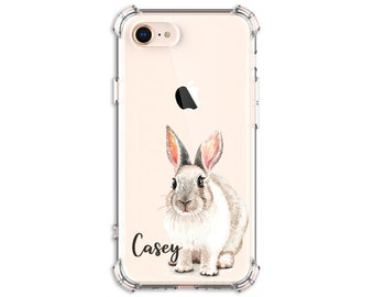 Cute Bunny Rabbit, Personalized Rabbit Case, iPhone se, 8, 8 Plus, Xs MAX, XR, 11, Galaxy S10, S8 Plus, S9, s9 plus, Note 20, Note 8, Note 9
