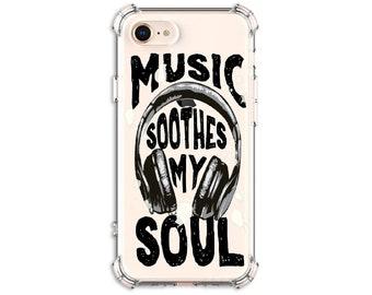 Music soothes my soul headphone case, iPhone 6, 6 plus, 7, 7 plus, 8, 8 Plus, X, Xs MAX, XR, Galaxy S8, S8 Plus, S9, s9 plus, Note 8, Note 9