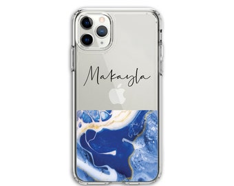 Personalized Heavy Duty Blue Marble Custom Clear Protective Hybrid Case, iPhone XR, 11, 11 Pro Max, Galaxy A20 A30 LG Stylo 5, Aristo 3